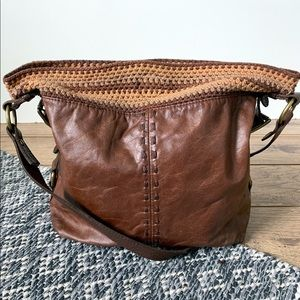 The Sak Leather Crocheted Boho Hobo Shoulder Bag